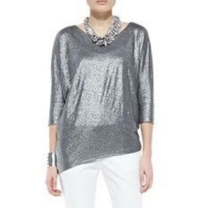 Eileen Fisher metallic shimmer asymmetric dolman
